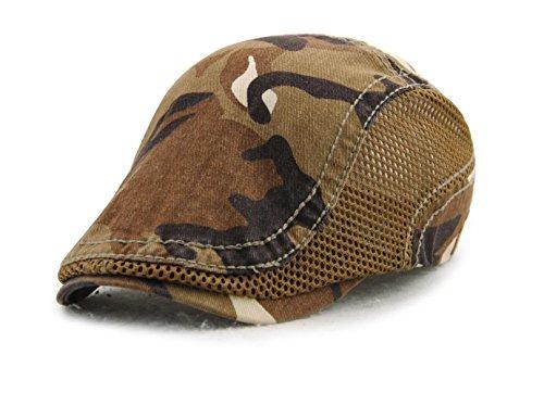 Camo Driver Hat (Elwow Men's Outdoor Sports Camouflage Vintage Newsboy Cap, Women's Flat Driver Cap, Irish Hat, Outdoor Sports Sun Hat with Adjustable Strap)