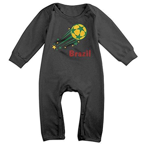 Soccer Clipart (XHdo-4 Cute Flying Brazil Soccer Toddler Unisex Infant Baby's Long Sleeve Romper Jumpsuit Sleepwear)