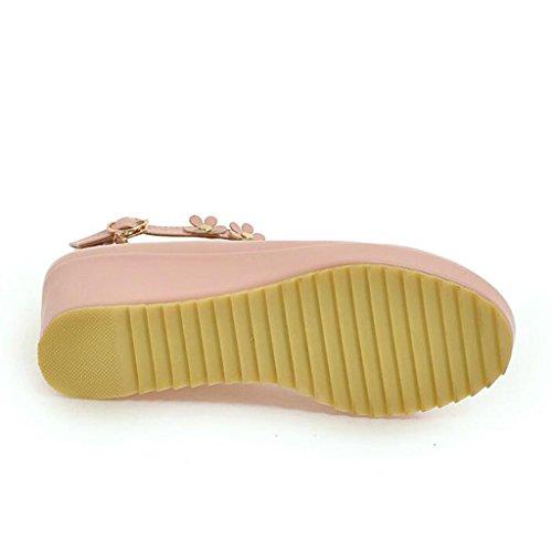 Peu Profonde Tête escarpins Pente PU Semelle Rose Talon Moyen en Supérieur Ronde Bouche Chaussures D'étudiant de Polyuréthane Chaussures Femme w1twIq