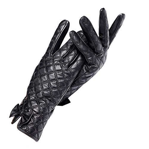 AMAZING AMAZING GIoves Women,GIoves Central Butterfly Decoration,Genuine Leather,Black Checkered Leather gIoves,Female gIoves,Brand Quality
