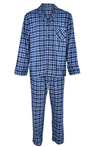 Hanes Men's 100% Cotton Flannel Plaid Pajama Top and Pant Set, Blue, Small ()