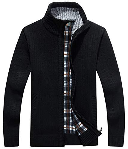 chouyatou Men's Winter Sportswear Fleece Lined Zip-Front Cable Knit Cardigan Sweater (Large, Knit-Black)