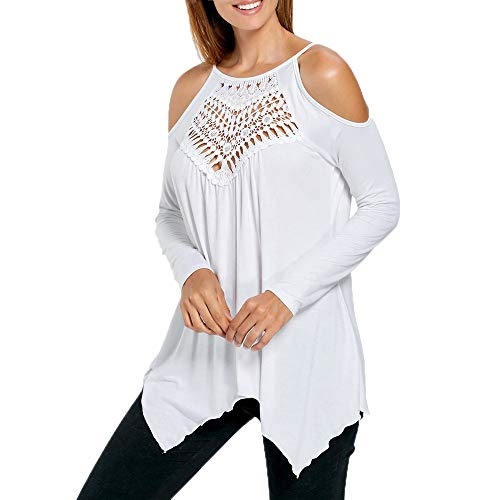 Loosebee◕‿◕ Women's Casual Tops Lace Off Shoulder Long Sleeve Loose Blouse Shirts