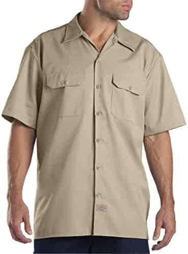 Dickies Men's Short-Sleeve Work Shirt (2 Pack - Medium, Khaki)