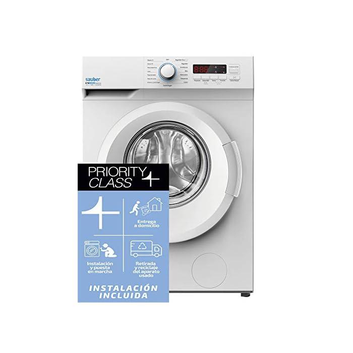 41nz0%2B7v3HL Haz clic aquí para comprobar si este producto es compatible con tu modelo Sauber Priority Class: ENTREGA, CONEXIÓN Y RETIRADA DEL USADO EN SU DOMICILIO INCLUIDO. Capacidad de carga (kg): 6 Kg, Clasificación Energética: A+++. Las lavadoras de la serie EcoBlue de Sauber facilitan el cuidado de tu ropa y de tu lavadora, con el menor consumo energético y fácil control.
