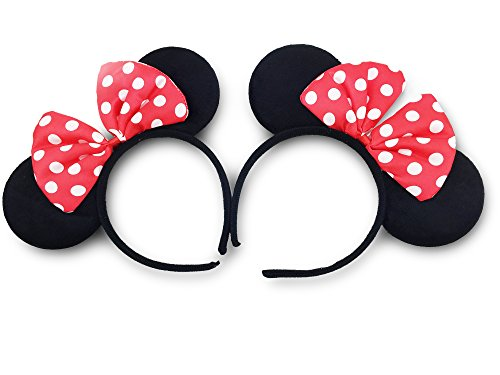 Disney Mickey Ears Headband (Finex Mickey Minnie Mouse Costume Deluxe Fabric Ears Headband *Set of 2* (Minnie -child-))