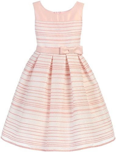 Taffeta Sash Colors Light (Easter Dress Sleeveless Round Neck Stripe Woven with Organza Bow for Big Girl Light Pink 12 63.8)