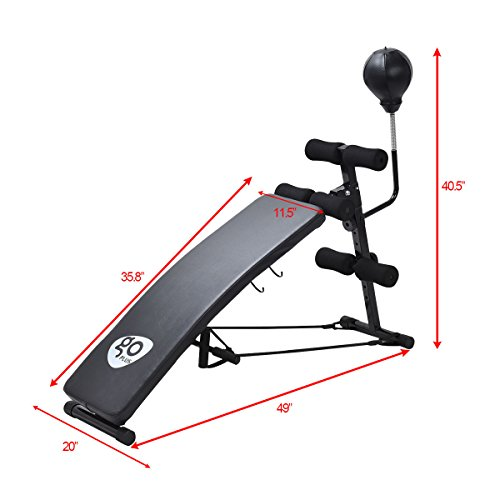 Goplus Adjustable Incline Weight Bench Curved Sit Up Bench Board W/ Speed Ball & 2 Straps