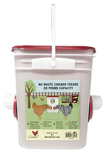 Chicken Feeder Holds 20 Pounds Pellets Crumbles Grain In Bucket   For 21St Century Chicken Owners   Inside Or Outside Of Coop   Use With Nipple Waterer  2 Feed Ports   Center  4 6 Hens