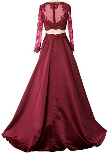 Dress Lace Formal Green Women Prom Satin Sleeve Long MACloth Piece Two Evening Gown xAzqwnYF