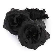 20 Pcs Rose Heads Artificial Flower Party Wedding Home Office Garden Decor Black