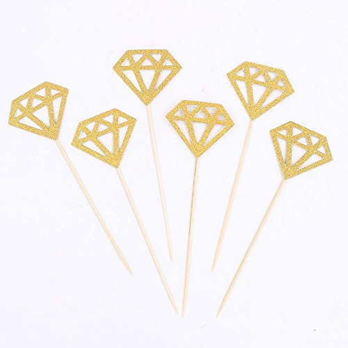 Glitter Diamond Cupcake Toppers Gold Party Cupcake Decorations for Wedding | Engagement | Bridal Shower | Birthday | Graduation | Baby & Expecting Party Dessert Decorations Topper, Pack of ()