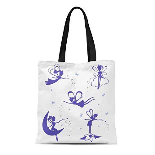 Semtomn Canvas Tote Bag Shoulder Bags Butterfly Cartoon Fairy Silhouette of Blue Fairies Stencil White Women's Handle Shoulder Tote Shopper Handbag - Fairies Fairy Handbag