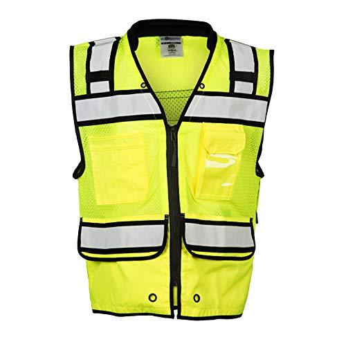 ML Kishigo - Economy Zipper Surveyor's Vest, Color: Lime, Size: 3X-large
