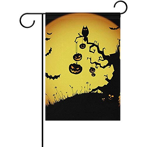 Sandayun88x Garden Flags Scary Halloween Night with Full Moon Garden Flag Yard Flag Banner for House Outdoor Decor 12 x 18 Inch