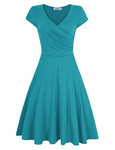 MISSKY Women A line V Neck Short Sleeve Pullover Knee Length Elegant Slim Fit Flare Casual Swing Vintage Cocktail Dresses for Women (S, Blue Green)