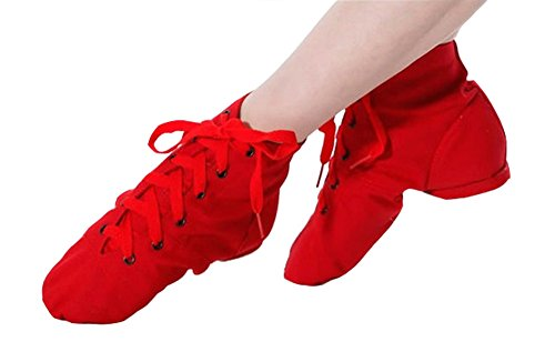 staychicfashion Jazz Practice Shoes Adult Red Soft Canvas Sueded Sole Modern up Dance Lace Boots rr0qBf