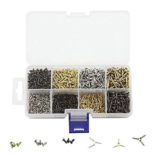 BLUELEC 8 Different Sizes of Small Wooden Nails and Flat Tapping Screws Combination Small Iron Nail Screws 1600pcs