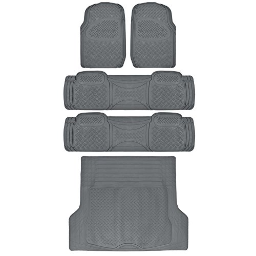 BDK WeatherPlus Series Gray - Heavy Duty All Season Rubber Mats for SUV Truck Van 5 Pieces