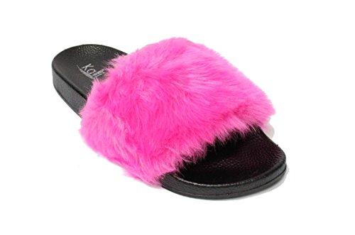 Women's Slip Flip Faux on Slipper Hot Slide Flat Footwear Pink Limit Fur Flop Kali Soft Sandals Mule 5HqxwTIEw