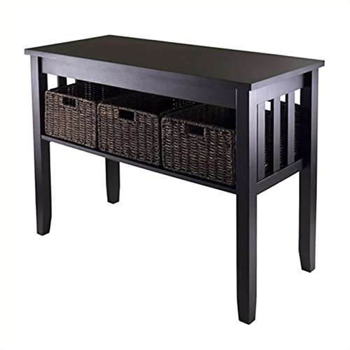 Winsome Morris Console Hall Table with 3-Foldable Basket - Sofa Table Baskets