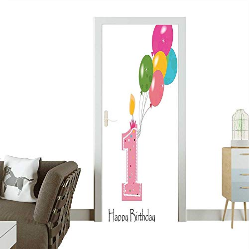 Homesonne Modern Art Door Sticker Baby Girl Toddler Party Candle with Colorful Balloons Light Pink and White Environmentally Friendly decorationW36 x H79 INCH
