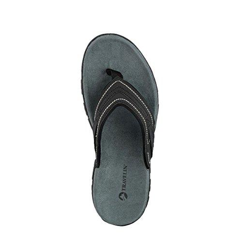 Travelin Slipper Dalen Flip Flops | Herren Outdoor Sandalen Zehentrenner | Sehr Leichten Sommer Slippers in Schwarz 45 EU