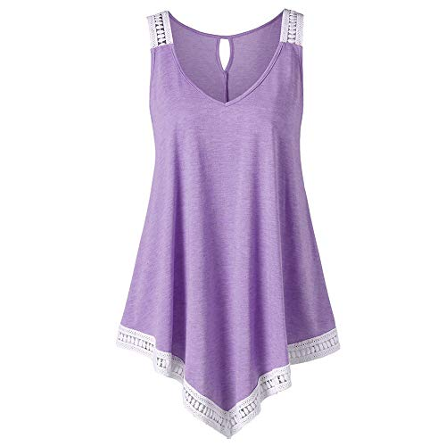 Sunhusing Womens Solid Color Round Neck Irregular Lace Stitching Top V-Neck Back Hollow Vest Purple