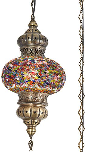 (8 Colors) DEMMEX - Wall PlugIn XL Light - Turkish Moroccan Mosaic PLUGIN Ceiling Hanging Tiffany Pendant Light Fixture Lamp with 15'feet Chain & Cord & US Plug - NO HARDWIRING (Anatolian Rug) ()