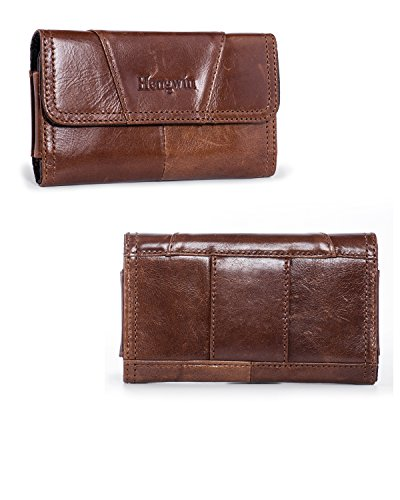 Hengwin Premium Horizontal Leather Carrying Case Pouch Holster for iPhone Xs Max 8 Plus 7 Plus with Belt Loops with Card Slots for LG G5/G4-Brown ()