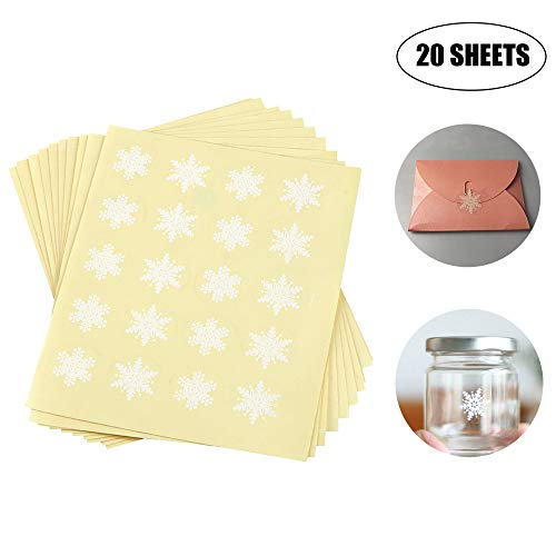 400PCS 20 Sheets 1 Inch Round Circle Cute Snowflakes Label Stickers for Envelope Cookie Candy Bag Gift Card Seals Decorate Baking Treat Bags