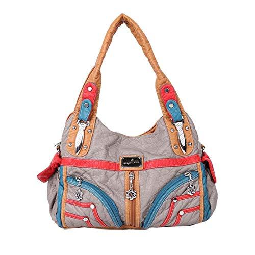 Bolso Pu Impermeable Desgaste Cuero Bandolera Totalizador Fashion Resistente Gris Layxi Bags Mujer Al Grande Shoulder De Casual w1f5gA