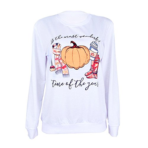 Halloween Hoodies Sweatshirt,ZYooh Women Long Sleeve 3D Graphic Wolf Printed Hooded Sweatshirt Pullover Baseball Coats Sweats (L, white) (Zumba Happy Halloween)