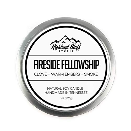 Highland Bluff Studio Fireside Fellowship, Book Inspired Large Tin Scented Soy Candle