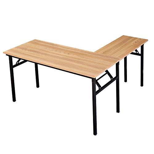 Need 55'' x 55'' L-Shaped Folding Computer Desk, One-Step Assembly, L Desk Home Office Desk Workstation Desk, Teak AC11BB by Need (Image #4)