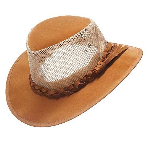 Mesh Cowboy Hat,Men's Golf Sun Hats Summer Wide Brim Safari Outdoor Caps (L(22 5/8-23inches), Tan)