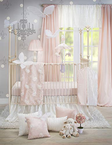 Crib Bedding Set Lil Princess by Glenna Jean | Baby Girl Nursery + Hand Crafted with Premium Quality Fabrics | Includes Quilt, Sheet and Bed Skirt with Pink and Ivory ()
