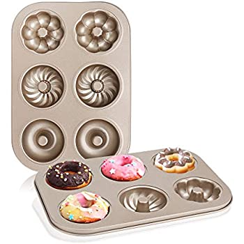 Nonstick Donut Pan, Beasea 2 Pack Donut Baking Pans, Carbon Steel Donut Mold, Donut Baking Tray Bagels Mold for 6 Donuts