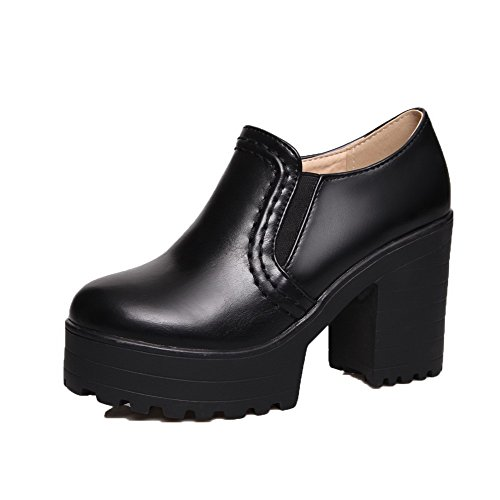 Odomolor Women's Pu High-Heels Closed-Toe Soild Pull-On Pumps-Shoes Black Dq13Z2SSV