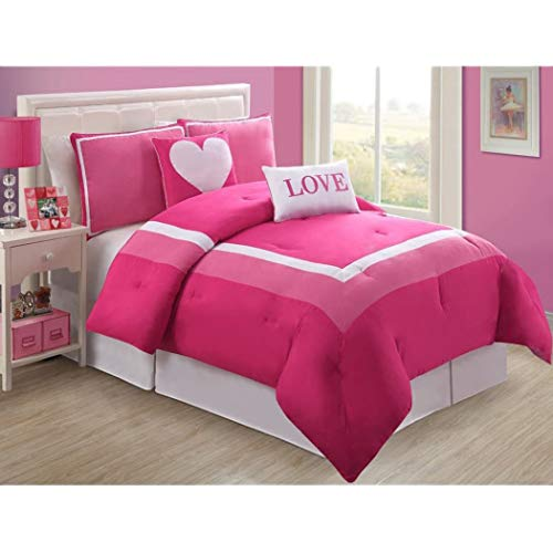 (5 Piece Girls Hot Light Pink Love Full Comforter Set, Pretty Heart Girly Bedding, Beautiful Square Border Pattern, Fun Teen Girly Bright Vibrant Colors Soft White)