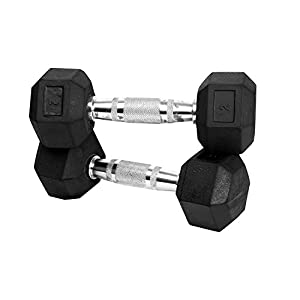 Best Rubber Coated Hex Dumbbells India 2020 with Contoured Chrome Handle