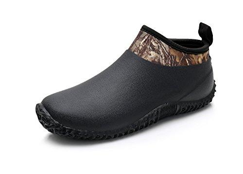 Triple Deer Women's Neoprene Rain Boots Waterproof Gardening Shoes Slip On Rubber Boots Car Wash Footwear (US 9, Black)