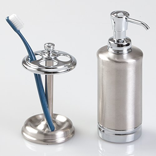mDesign Stainless and Metal Soap or Lotion Dispenser Pump with Toothbrush Holder Stand, 2 pc Bathroom Accessory Set - Brushed/Chrome
