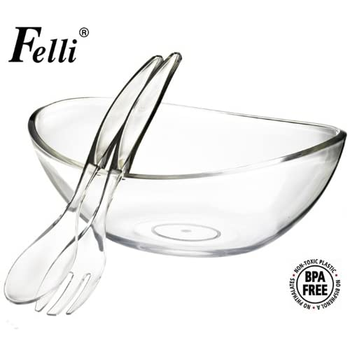 "Felli- Crystal clear acrylic serving bowl set. 12.5"" Mixing salad bowl and Servers. (U432719)"