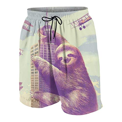 - Sloth Climbing in New York Teenager Boys Funny Swim Trunks Quick Dry Beachwear Shorts Waterproof Mesh Swimwear Bathing Suits