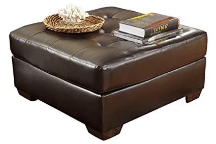 Ashley Furniture Signature Design   Alliston Contemporary Upholstered  Oversized Accent Ottoman   Chocolate