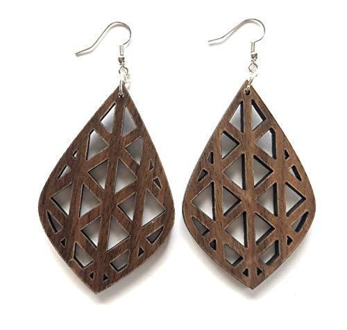 Grounded Goods Design Teardrop Cutout Wood Earrings (Brown/Walnut) ()