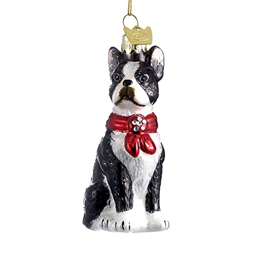 Boston Ornament Christmas Terrier - Kurt Adler Boston Terrier Noble Gems Collection Glass Ornament