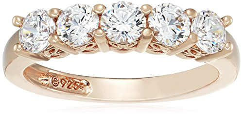 Yellow Gold-Plated Sterling Silver Swarovski Zirconia Round-Cut 5 Stone Ring, Size 6