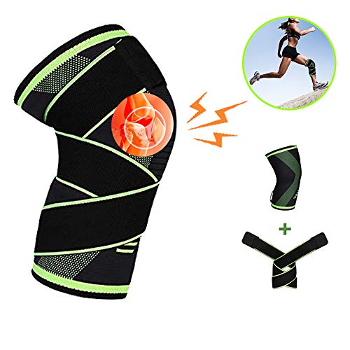 Knee Brace Compression Sleeve Best Knee Braces for Women & Men Non Slip Knee Sleeves Support with Strap for Running Crossfit Weightlifting, Workout, ACL, Pain Relief, Injury Recovery, Single Wrap ()